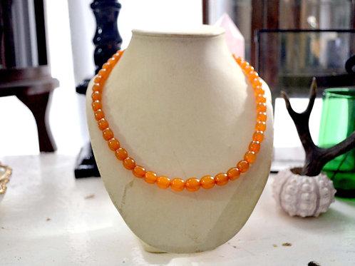 中古鮮橙色樹脂小圓珠項鍊 貴婦淑女 日本高級二手古著珠寶首飾