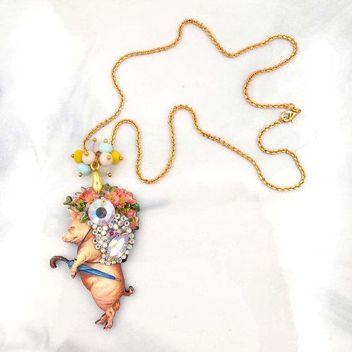 肥豬先生木片綴施華洛水晶頸鍊 鍍18K金項鍊 Mr Pig laser cut wood with 18K gold plated necklace