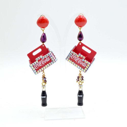 TIMBEE LO 可口可樂經典汽水盆 創作改裝耳環 綴SWAROVSKI 水晶