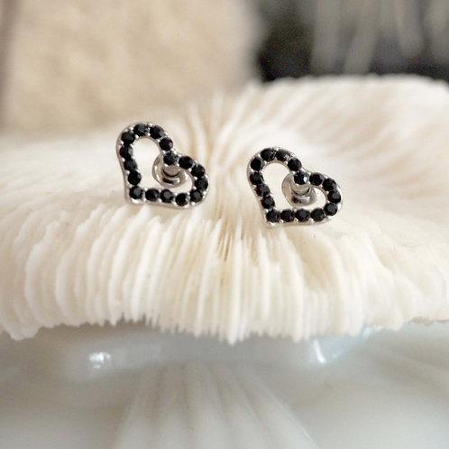 簡約愛心黑色水鑽耳環 貴婦人淑女 日本高級二手古著珠寶首飾