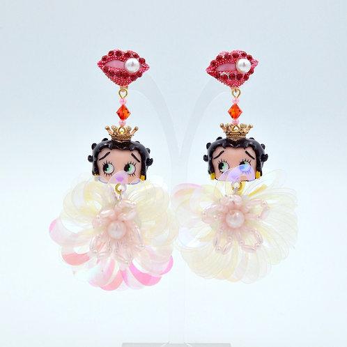 Betty Boop 中古娃娃豪華珠寶風珠片耳環
