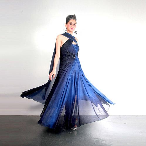 TIMBEE LO 藍黑色漸變色星河晚裝禮服裙 布包珠子水晶閃鑽手工裝飾