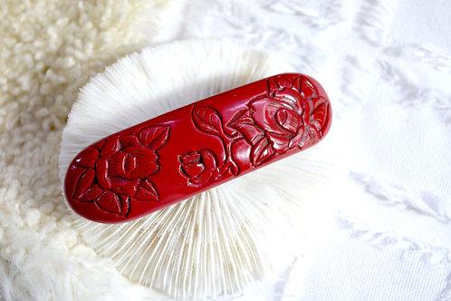 紅色仿紅珊瑚木刻玫瑰髮夾 貴婦少女 輕珠寶 日本高級二手古著珠寶首飾