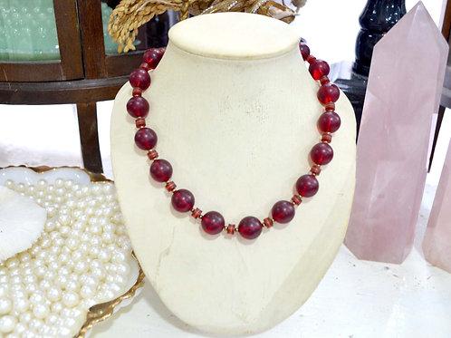 紅褐色樹脂圓珠拼小珠子項鏈 貴婦淑女 日本高級二手古著珠寶首飾