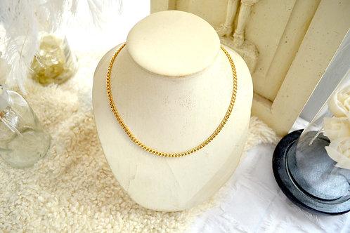 鍍金幼鎖鏈型 乳頭開口扣項鍊 日本高級二手古著珠寶首飾