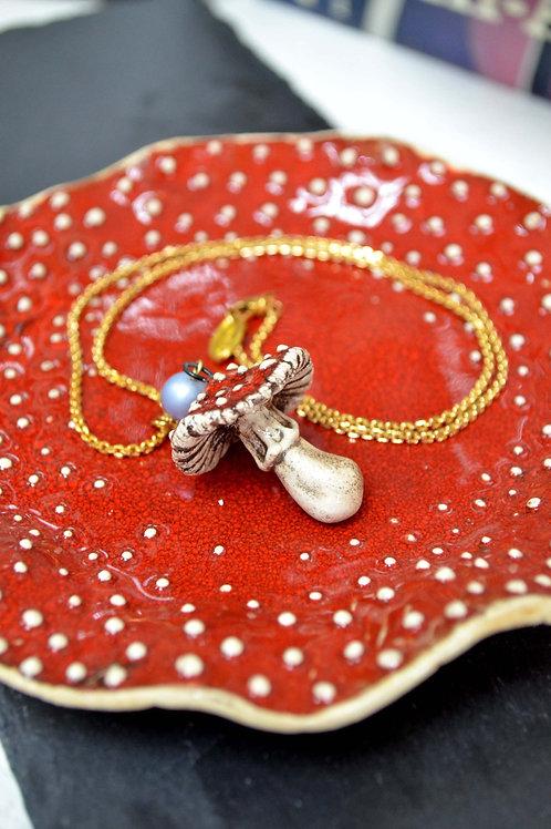 俄羅斯手工陶瓷蘑菇項鍊 18K鍍真金頸鍊 Russian Handmade Ceramic Mushroom Necklace with 18K Chain