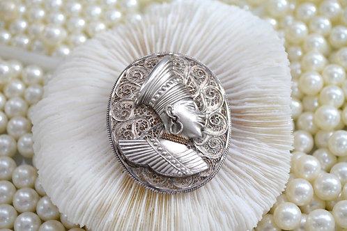 鍍銀埃及神話人像通花胸針 貴婦淑女 日本高級二手古著珠寶首飾