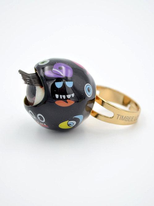 TIMBEE LO 趣味數碼圖案款眼珠戒指 紅黑白粉紅薄荷紫藍檸檬黃 8色