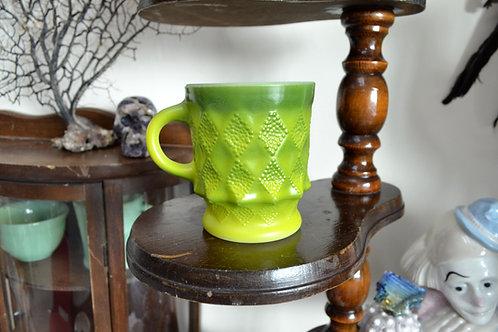 Fire King 綠色鑽石菱格咖啡杯