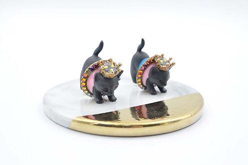 黑色貓咪分體耳釘 綴施華洛水晶 Swarovski Crystal