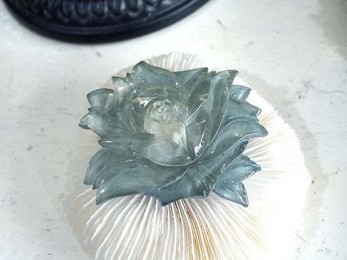 冰水晶藍色花腰帶扣 高貴優雅 日本高級二手中古珠寶首飾