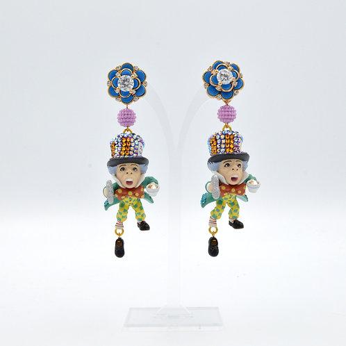 瘋帽先生裝飾耳環 綴施華洛水晶