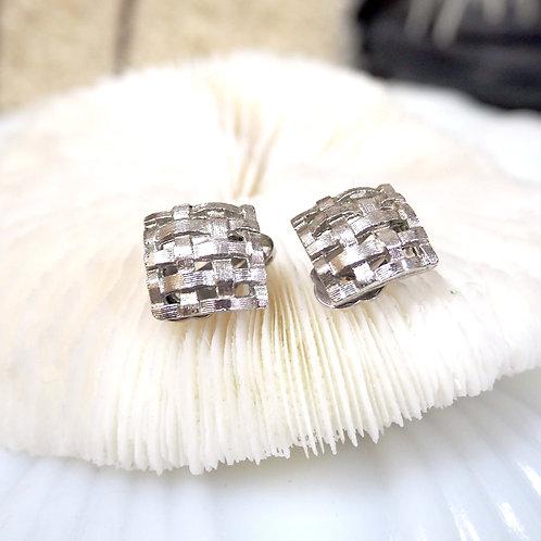 銀色古典立體格紋耳夾 貴婦人淑女 日本高級二手古著珠寶首飾