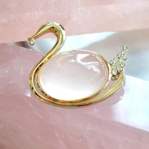 鍍金天鵝造型星光粉晶水晶寶石晶石 貴婦 日本二手古著珠寶首飾