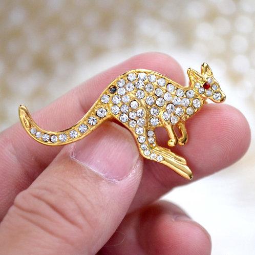 鍍金水鑽袋鼠胸針 貴婦少女 輕珠寶 日本高級二手古著珠寶首飾
