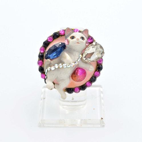 貓咪珠寶風綴施華洛水晶戒指
