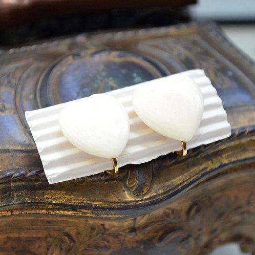 象牙色奶白色愛心樹脂耳夾 貴婦淑女 日本高級二手古著珠寶首飾