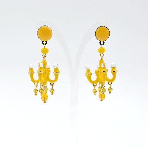 TIMBEE LO 鮮黃色 迷你吊燈耳環 法式樹脂搪瓷塗層 Lemon Yellow Mini Chandelier Earring