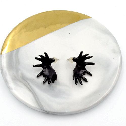 TIMBEE LO 黑色 法式搪瓷 金屬馴鹿角耳環