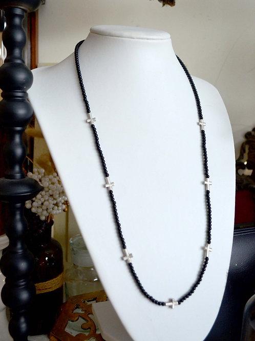 復古十字架&黑色珠子項鍊 高貴優雅 日本二手中古珠寶首飾古著