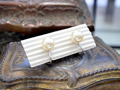 簡約貴族鍍銀珍珠耳夾 貴婦淑女 日本高級二手古著珠寶首飾
