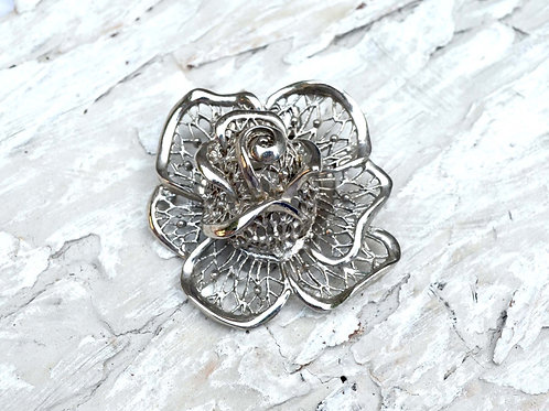 立體通花玫瑰花工藝絲巾夾絲巾圈 高貴優雅 日本二手中古珠寶首飾
