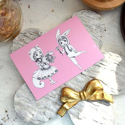 GOOKASO 兔子少年 松鼠多肉少女  明信片 珠光卡紙材質 POSTCARD