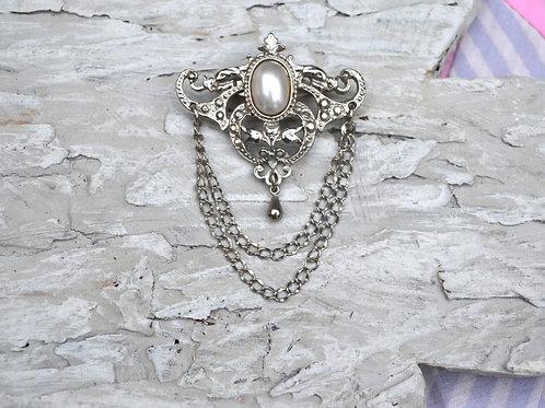 華麗宮廷風格銀色珍珠銀鏈胸針 貴婦風格 日本高級二手中古珠寶首飾
