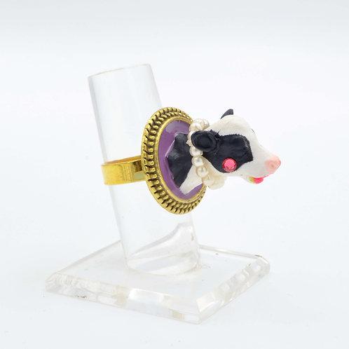 乳牛頭珍珠鍊子戒指 粉紅水晶胭脂 可調整尺寸