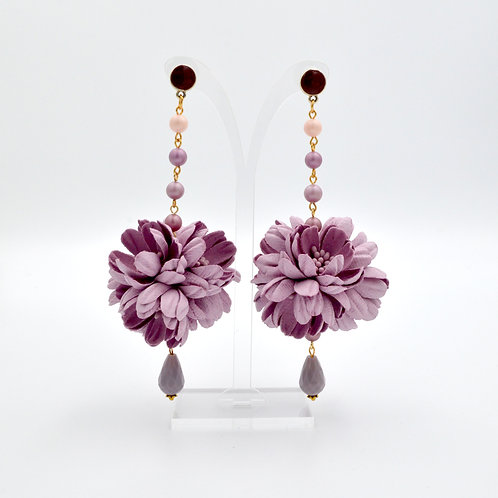 中型雛菊花球耳環 PU壓花手工製作  Middle Size Daisy Ball Earring