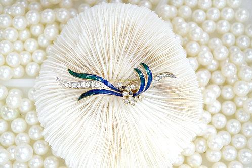 藍綠色水鑽彼岸花鍍金胸針 貴婦淑女 日本高級二手古著珠寶首飾