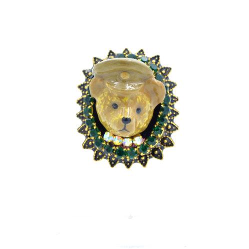 復古風小熊啤啤頭綴寶石花邊黃銅戒指  可調整尺寸