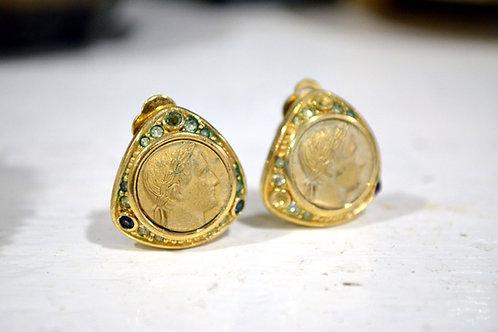 中古Nina Ricci人像古金耳環耳夾 高貴 日本二手中古珠寶首飾古著