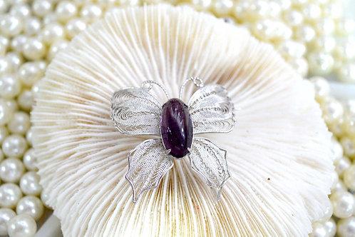 高貴紫水晶鍍銀蝴蝶胸針 貴婦淑女 日本高級二手古著珠寶首飾