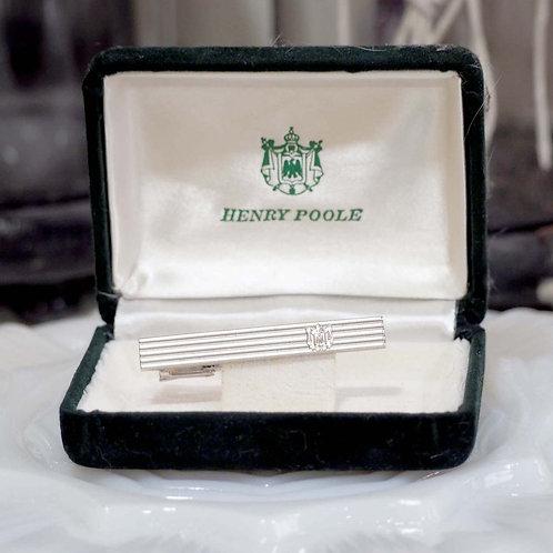 Henry Poole純銀LOGO領帶夾領呔夾有盒 日本高級二手中古珠寶首飾