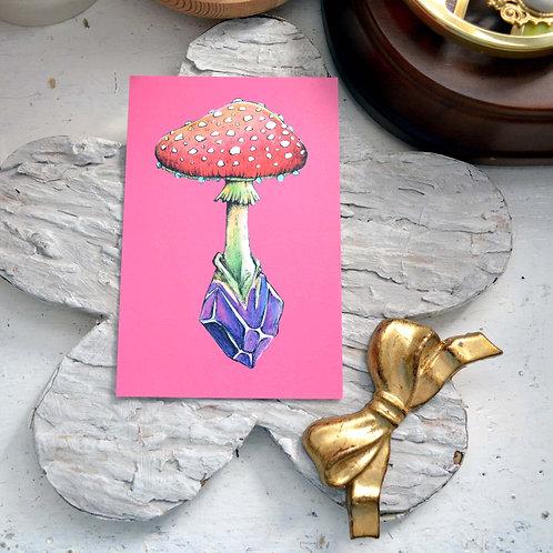 GOOKASO 魔法蘑菇紫水晶魔法石 明信片 珠光卡紙材質POSTCARD