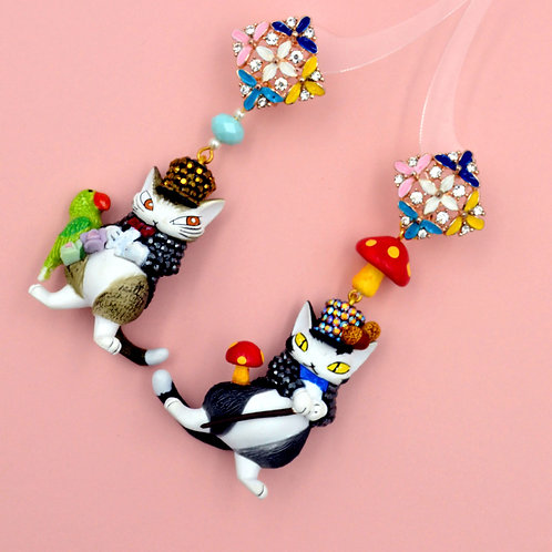 TIMBEE LO 達洋貓綴水晶裝飾耳環 SWAROVSKI Wachifield 池田晶子
