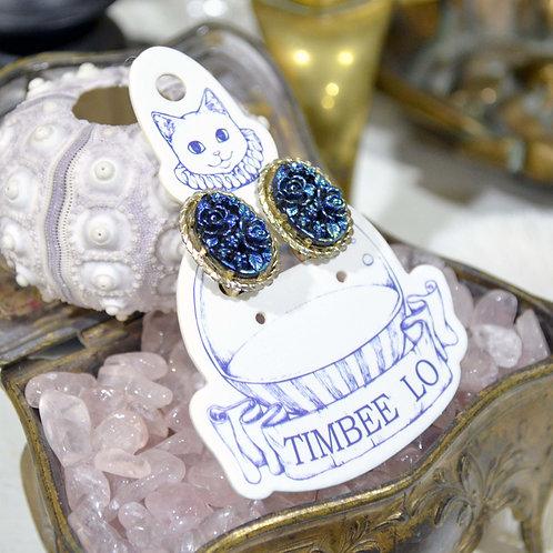 貴族風藍色玫瑰花耳環耳夾 高貴優雅 日本二手中古珠寶首飾古著