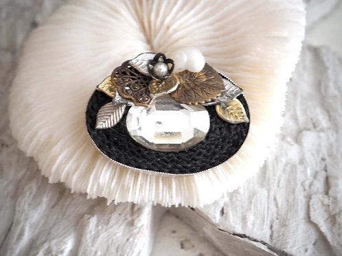 黑色橢圓型小花寶石心口針胸針別針 日本高級二手中古珠寶首飾