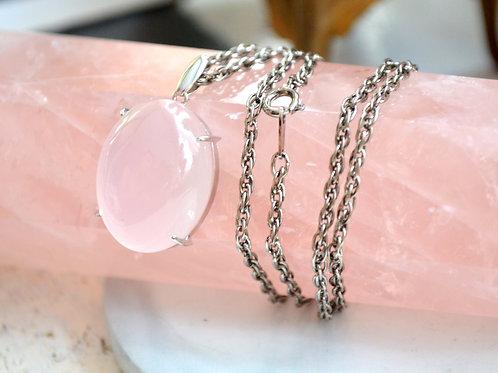 鵝蛋型星光粉晶水晶寶石晶石 貴婦淑女 日本二手古著珠寶首飾