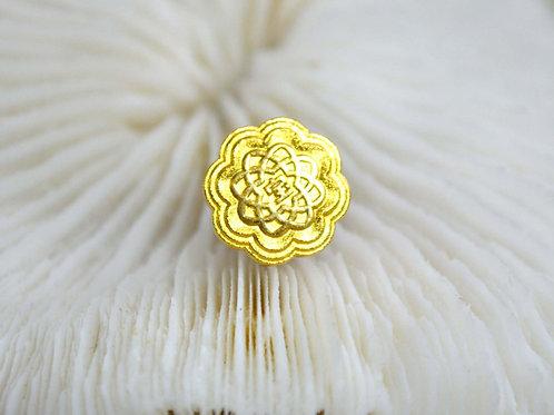 日本鍍金宝字花形胸針 貴婦淑女 日本高級二手古著珠寶首飾