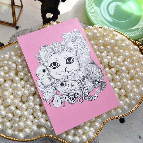 GOOKASO 貓咪國王魔法蘑菇紫水晶石 明信片 珠光卡紙材質POSTCARD