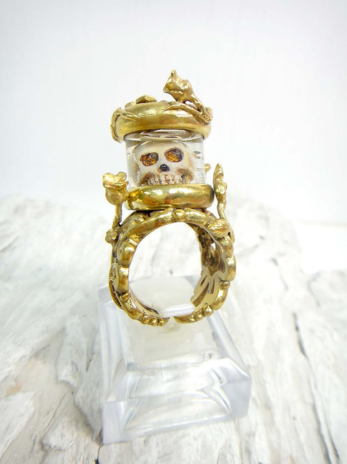 黃銅骷髏頭試管戒指 Brass Skull with Testube Ring