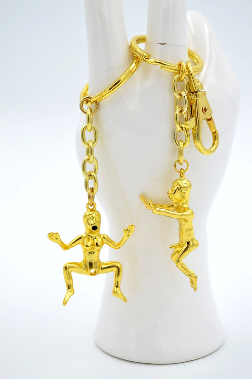 色情男女 純金色鎖匙扣 Sex Couple Keychain in Gold Color