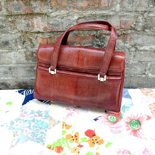 意大利中古 蜥蝪皮棗紅色手袋 質感超好超軟 手提包 包包 公事包淑女包