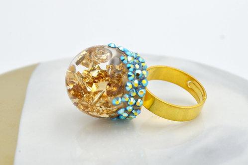 金箔玻璃球戒指 綴施華洛幻彩水晶石