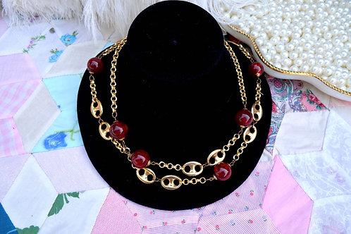 紅色樹脂珠鍍金質感長項鏈 高貴優雅日本二手中古珠寶首飾