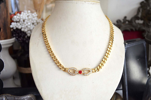 鍍金水鑽紅寶石復古項鏈 高貴優雅 日本二手中古珠寶首飾古著