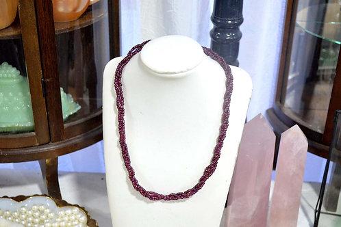 深紫石榴石三連項鏈小銀扣 貴婦淑女 日本高級二手古著珠寶首飾