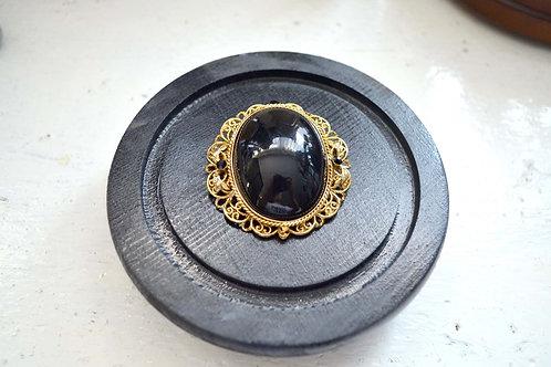 24金黑曜石暗鏤空花底座復古胸針 高貴優雅 日本二手中古珠寶首飾